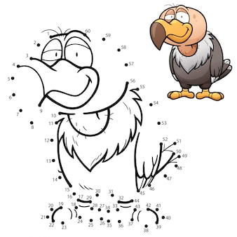 Kids game dot to dot vulture