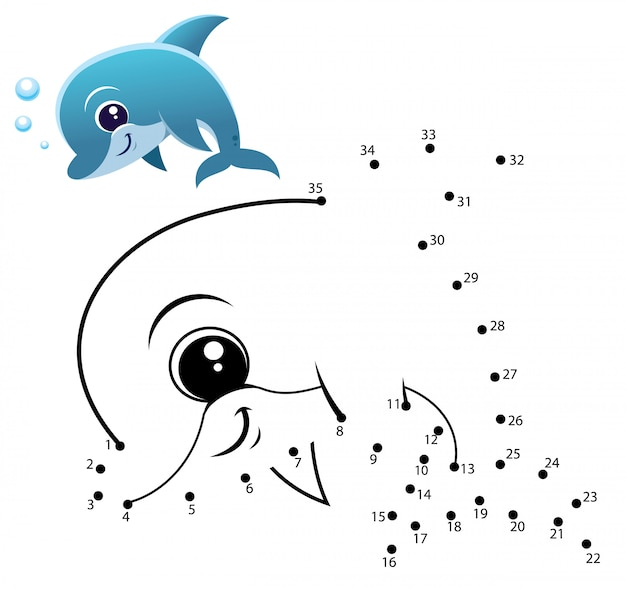 Детская игра точка в точку дельфин