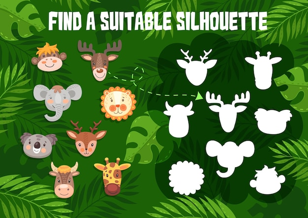 キッズゲームはかわいい動物との適切なシルエットを見つけます。漫画の面白い猿、ムースと象、コアラ、キリンと牛または雄牛と鹿と子供たちの論理活動のためのシャドウマッチなぞなぞ