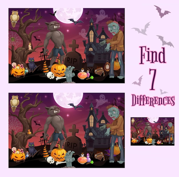 Kids game of find differences, halloween monsters