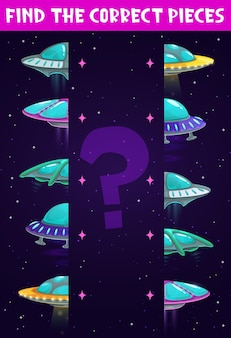Kids game, find and match ufo, cartoon space board game or puzzle Premium Vector