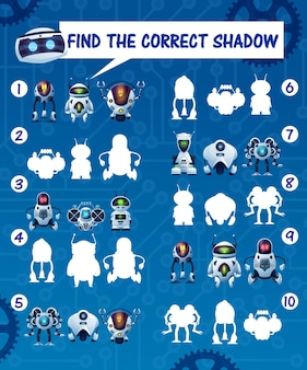 Kids game find the robot shadows, vector riddle match correct cyborg silhouettes. children logic test with cartoon androids and artificial intelligence bots characters. education mind development task