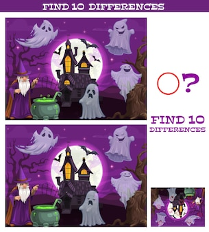 Kids game find ten differences. vector cartoon halloween characters magician with cauldron, spooky ghosts and bats near abandoned castle at night. educational children puzzle, riddle leisure activity
