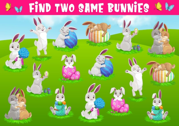 Kids game find two same bunnies