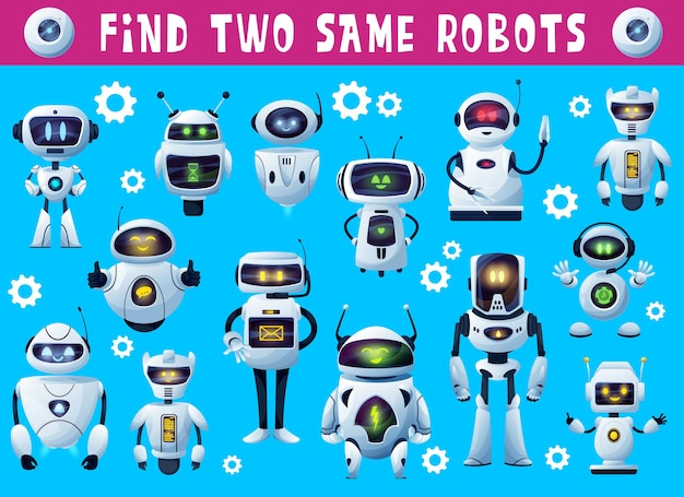Kids game find two same robots, tabletop or board game puzzle