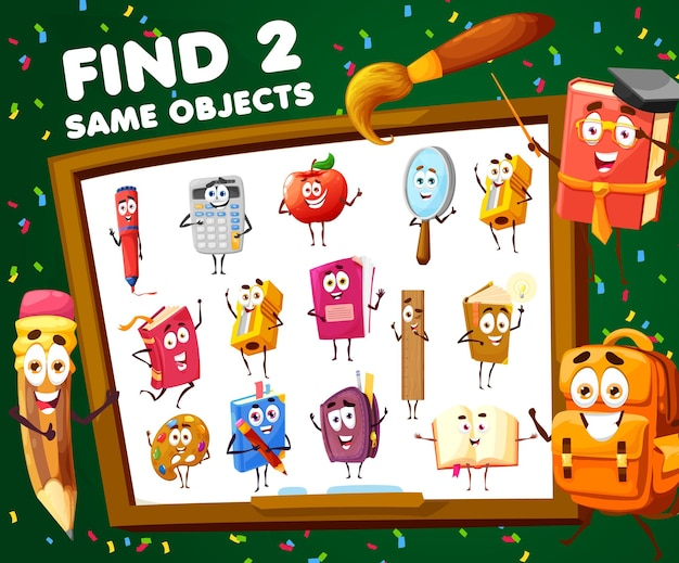 Kids game find two same school cartoon characters. vector educational worksheet, child riddle with cute personages pencil, apple, calculator and textbook on blackboard field. puzzle with student tools