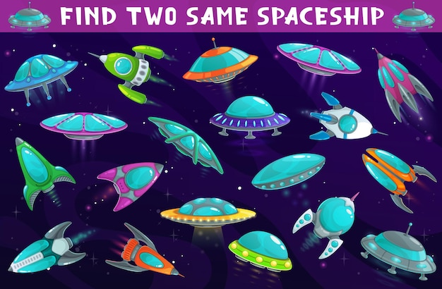 Kids game, find two same spaceships or ufo in space, board game puzzle