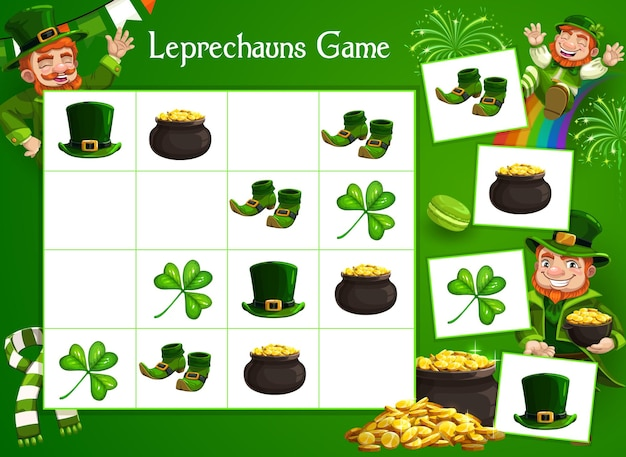 Kids game riddle with cartoon leprechaun character