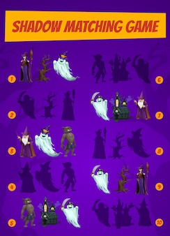 Kids game shadow match with halloween magician characters. children logic activity, preschool or kindergarten education. cartoon worksheet with magic personages, riddle for logical mind development