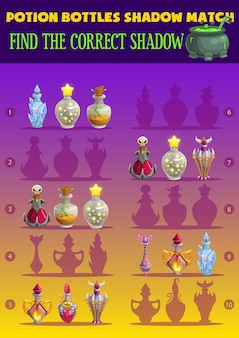 Kids game shadow match with magic potion bottles