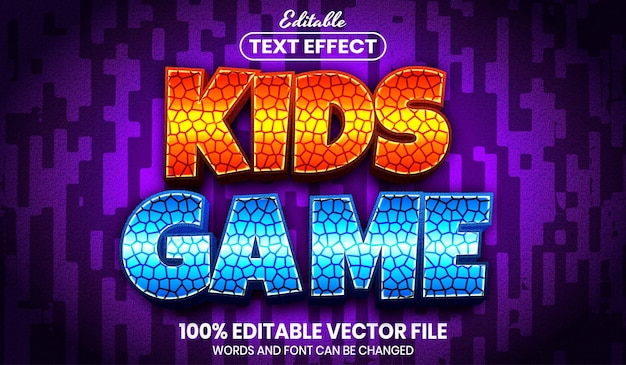 Kids game text, font style editable text effect