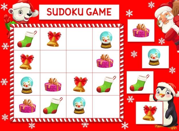 市松模様のボード上の漫画のクリスマスキャラクター、ギフト、お土産とキッズゲームベクトルなぞなぞ。教育課題、暇な活動、レジャーレクリエーション、ボードゲームのための子供たちのクロスワードティーザー