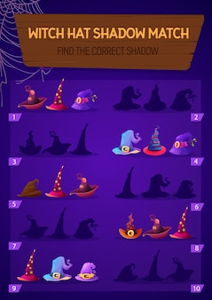Kids game witch hat shadow match, children logic activity, preschool or kindergarten education with halloween magician caps.