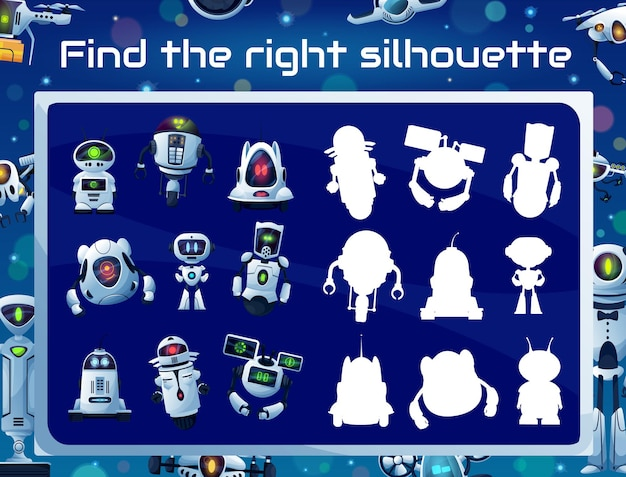 Kids game with robot silhouettes, shadow matching puzzle, memory riddle or attention test. education quiz vector template with cartoon robots, white modern bots and ai droids, drones and androids