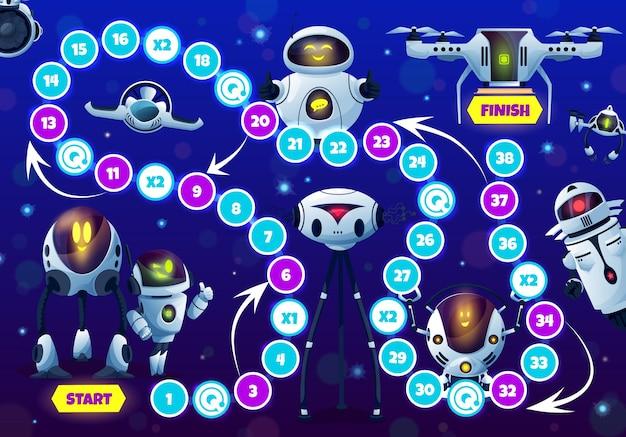 ロボットとドロイドを使ったキッズゲーム、ブロックパスを使ったステップボードゲーム