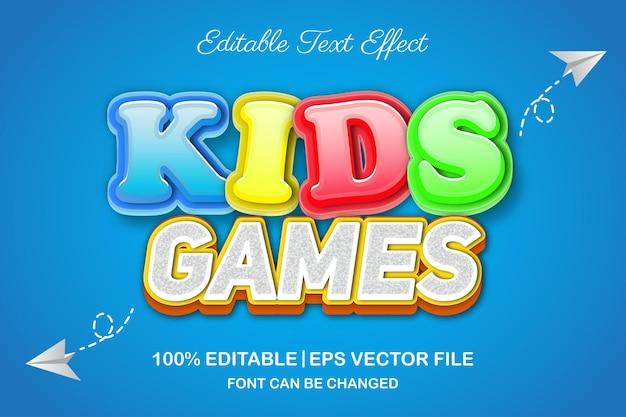 Детские игры 3d редактируемый текстовый эффект