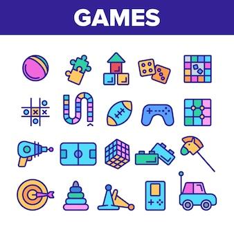 Kids games thin line icons set