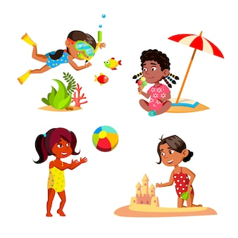 Kids girl relaxing on seashore beach set vector. children swimming underwater and playing with ball on beach, building sandy castle and eating ice cream. characters flat cartoon illustrations