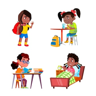 Kids girls daily routine activities set vector. children ladies going to school and doing home exercise, wake up and eating breakfast in kitchen daily routine. characters flat cartoon illustrations