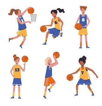 농구하는 아이 여자