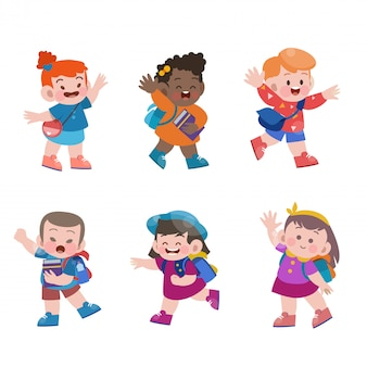 Kids go to school vector illustration collection