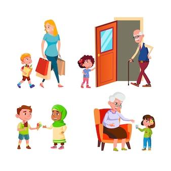 Дети хорошие манеры в разных ситуациях задать вектор. сын помогает матери и делится мороженым с другом, девушка открывает дверь для дедушки и дает воды бабушке. персонажи плоский мультфильм иллюстрации