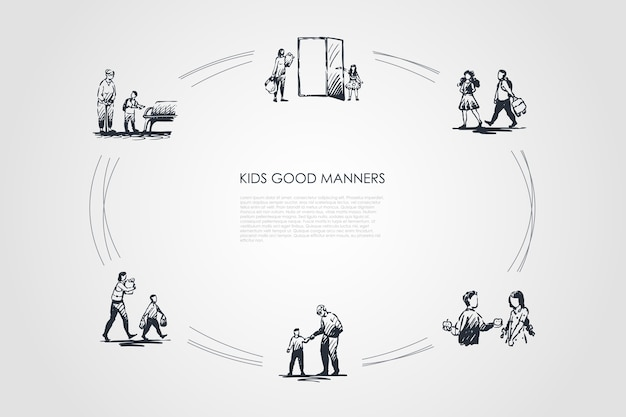 Kids good manners hand drawn cicle