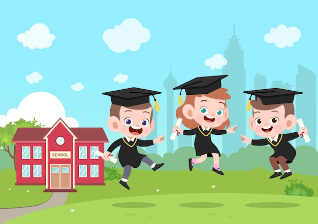 Kids graduation vector illustration