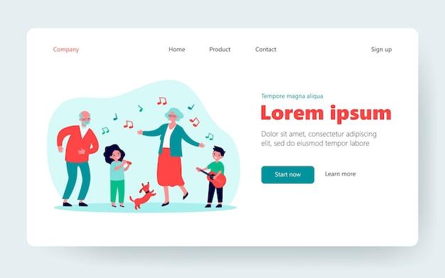Дети, бабушки и дедушки и домашние животные веселятся. собака, играет на музыкальном инструменте, танцует. плоские векторные иллюстрации. семейная вечеринка, единство, концепция поколения для баннера, дизайна веб-сайта или целевой веб-страницы