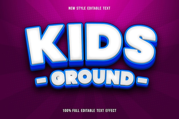 Kids ground editable text effect color white and blue
