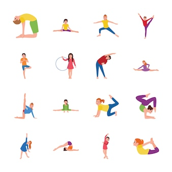 Kids gymnastic flat icons pack