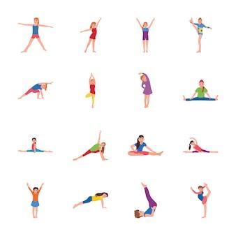 Kids gymnastic flat icons set