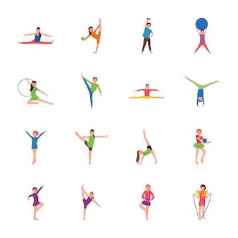Kids gymnastic flat vectors set