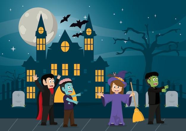Kids in halloween cartoon