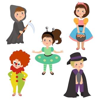 Kids in halloween costume set