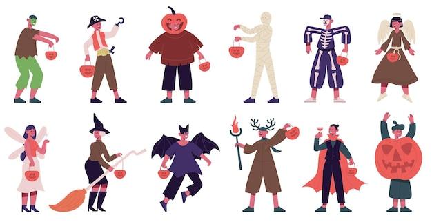 Kids in halloween costumes boys and girls wearing spooky outfits vampire angel skeleton vector set