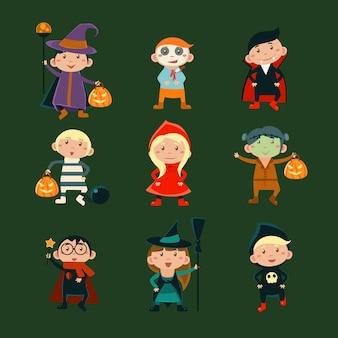 Kids in halloween costumes illustration