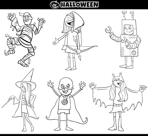 Kids in halloween costumes set cartoon coloring book page