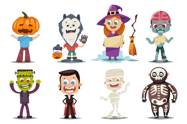 Kids in halloween costumes vector cartoon characters set isolated on white background.