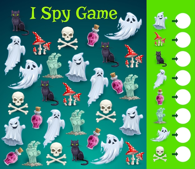 Kids halloween i spy game with spooky character