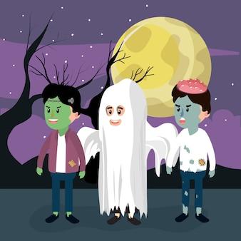 Kids and halloween night