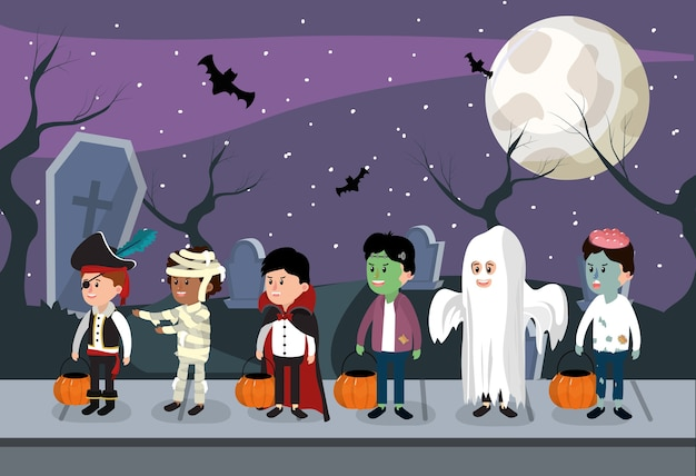 Kids and halloween night