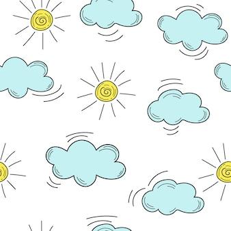 Дети рука топят облака и солнце. рука нарисованные облака и солнце - бесшовный фон
