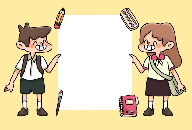 Kids happy back to school study drawing illustration