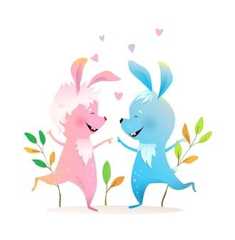 子供たちの幸せなかわいいジャンプウサギのカップルの友達の女の子と男の子の子供のためのペット