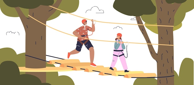 Kids have fun in rope park. small boy and girl in protective helmets climbing high on ropes in park or forest. active children sport activity leisure. cartoon flat vector illustration