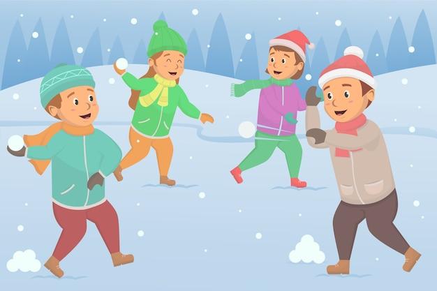 雪の中で楽しんで、雪玉のイラストを投げて遊ぶ子供たち