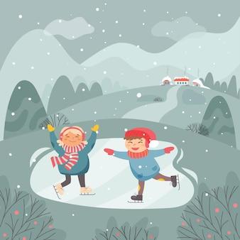 雪のシーンで楽しんでいる子供たち