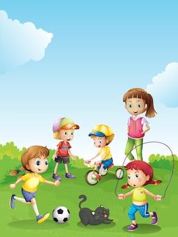Дети веселятся в парке