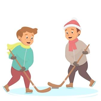 アイスホッケーのイラストを楽しんでいる子供たち